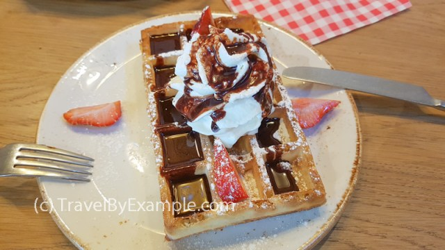 Ghent experience - Belgian waffle with chocolate and whipped cream