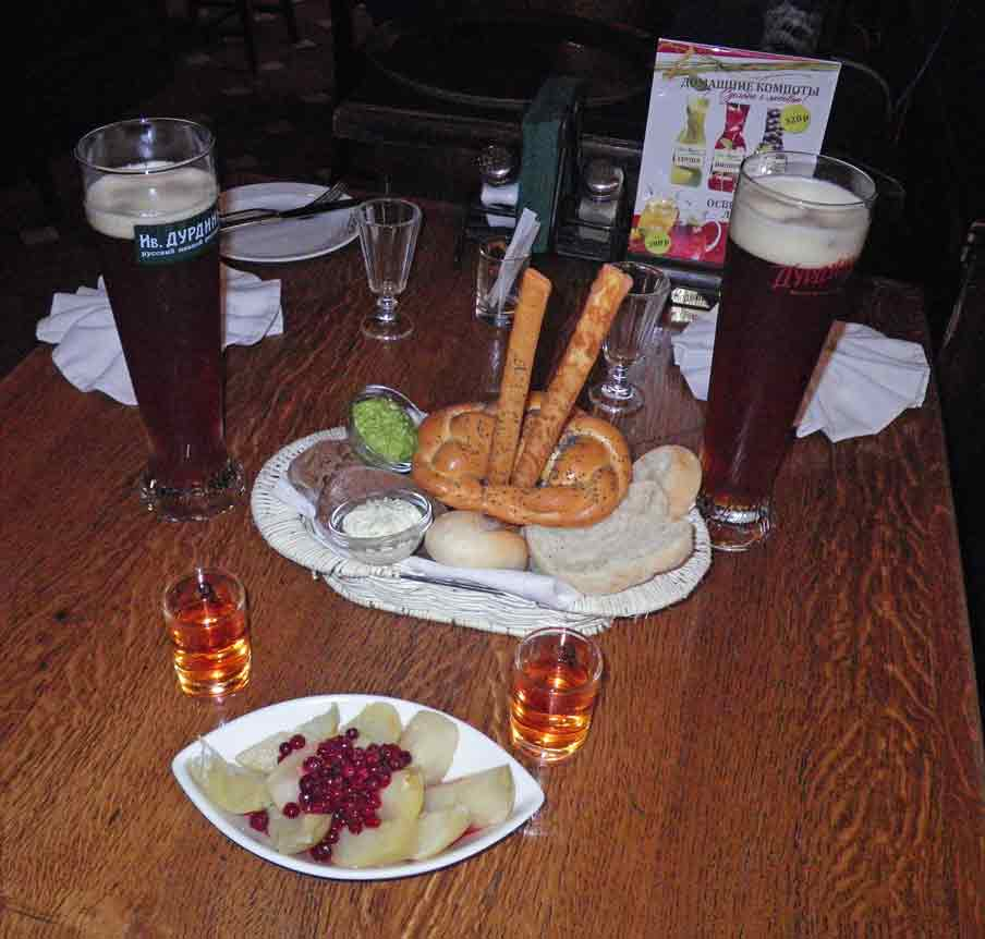 Beer, assorted Russian breads, picked apples with cowberries and cedar schnapps - a taste sensation!
