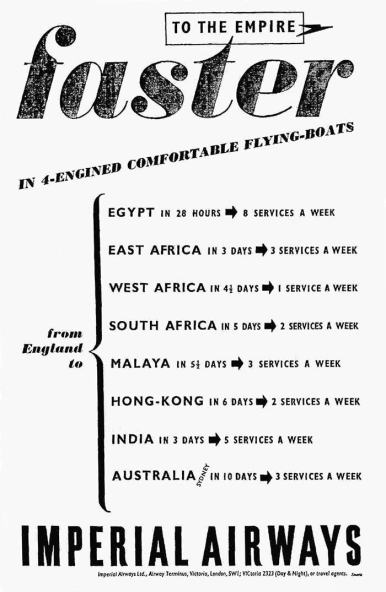 Pre war advertising for the flying boat routes.