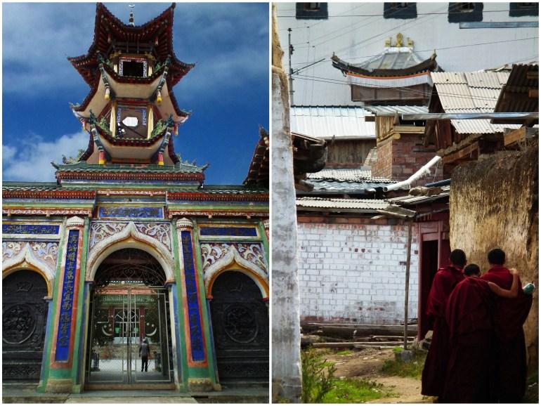 מימין: נזירים בקירטי גומפה, משמאל: המסגד של בני מיעוט החוי (צילום: טל דרניצקי)