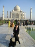 Doing a Diana at the Taj. No one can resist sitting on the seat made famous by the Princess of Wales.