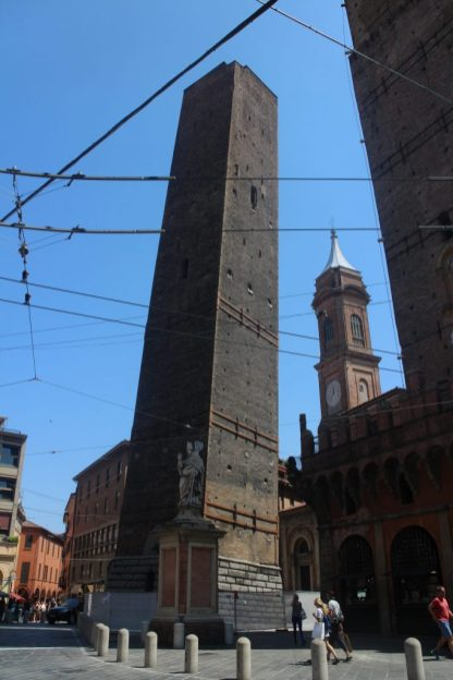 The smaller of the two leaning towers