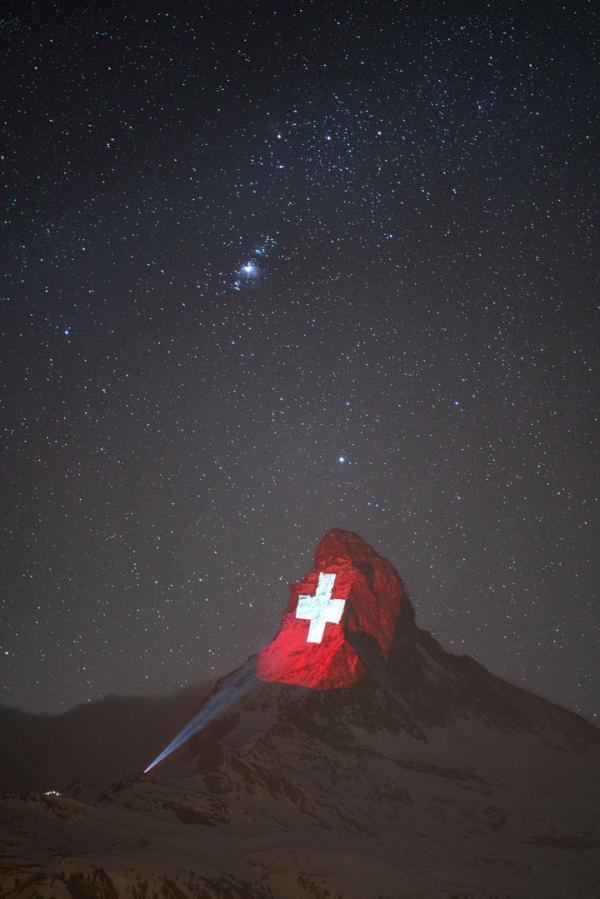 瑞士,策馬特,馬特洪峰,投影,歐洲山王