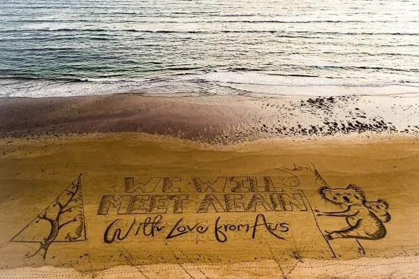 澳洲,沙灘,海灘,聖誕賀卡