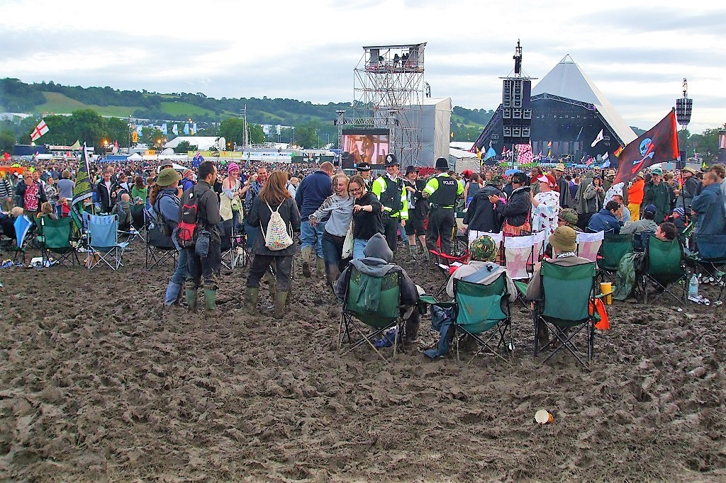 Infamous mud scenes at Glastonbury Festival
