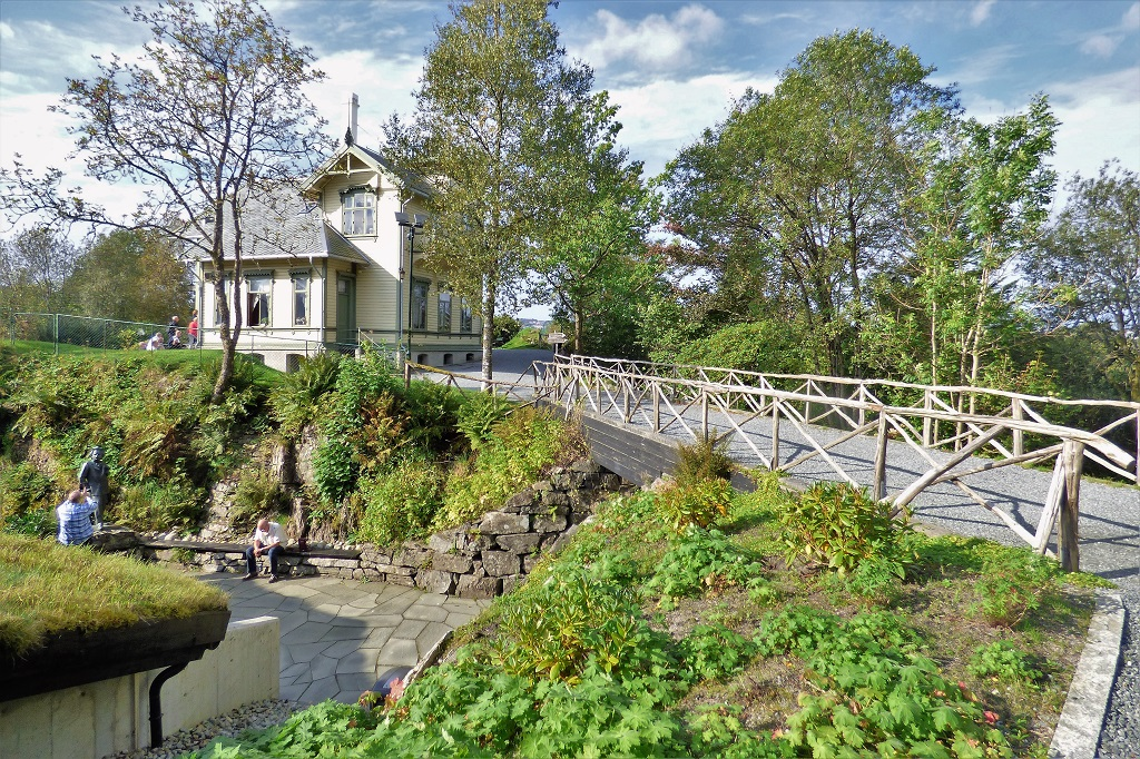 A pretty bridge leads to the main dwelling at Troldhaugen, the site of composer Edvard Grieg's Museum