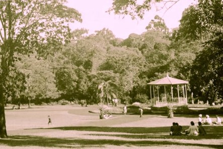 City Park - a relaxation resort on Sundays & holidays. There used to be a band playing in the gazebo in the middle of the park every fortnightly 1955