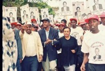 Uhuru Kenyatta and his wife during the 1997 Election campaign