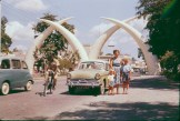 Famous Mombasa Tusks. The tusks were constructed in 1956 to commemorate a visit by Princess Margaret. The tusks represent the letter M