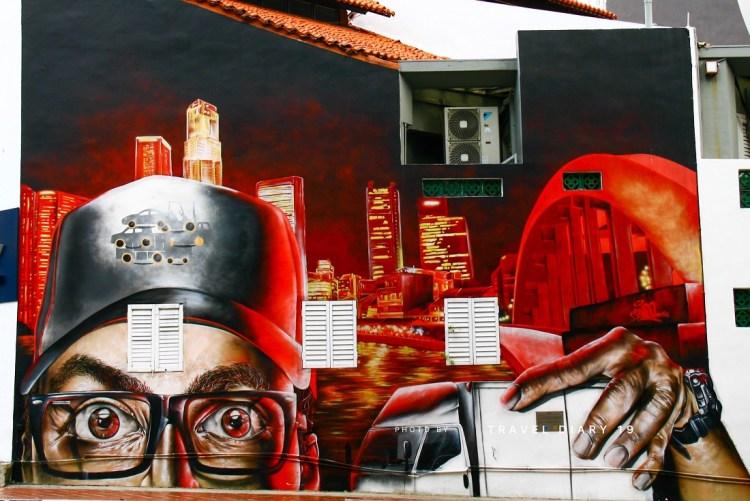 Murales nella zona di Clarke Quay a Singapore