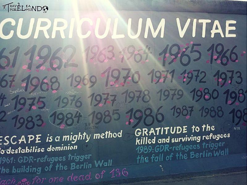 Pintura del muro de Berlín con el número de muertes cada año