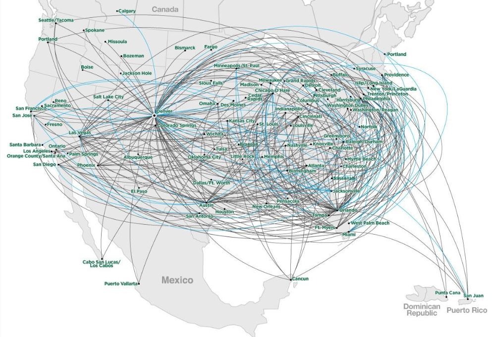 Frontier Airlines Route Map