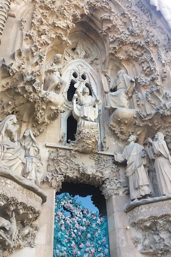 La Sagrada Familia Outside Details in Nature and Christianity