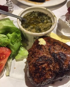 Horse steak with a sauce of fresh herbes at Horse House in Vilvoorde, Belgium