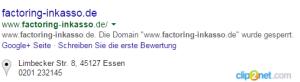 Factoring-Inkasso Dieckmann von Laar-Seitensperrung