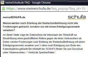Schufa Auskunft nach Insolvenzverfahren - FAQ der meineschufa.de