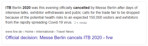 Official decision Messe Berlin cancels ITB 2020