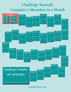 Marathon in a Month Motivational Tracker - copyright MindOverLatte.com 2018