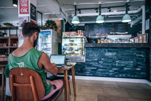 Digital Nomad in a Cafe