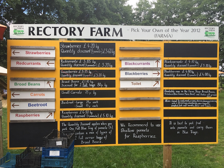 Where to go for the fruit and veg at Rectory Farm Pick Your Own, Oxford