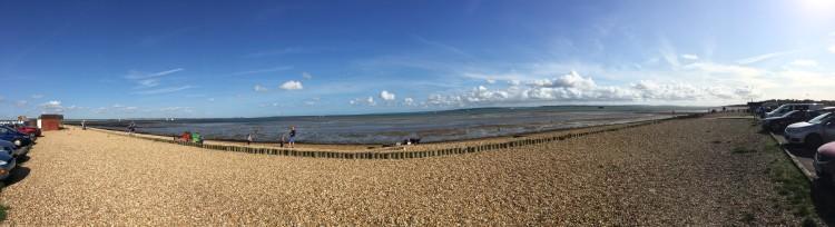 Panoramic view of Calshot Beach
