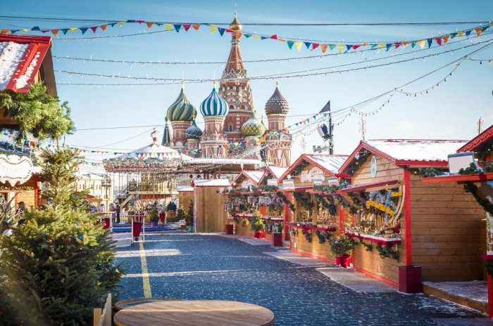 Christmas village fai, Red Square, Russia