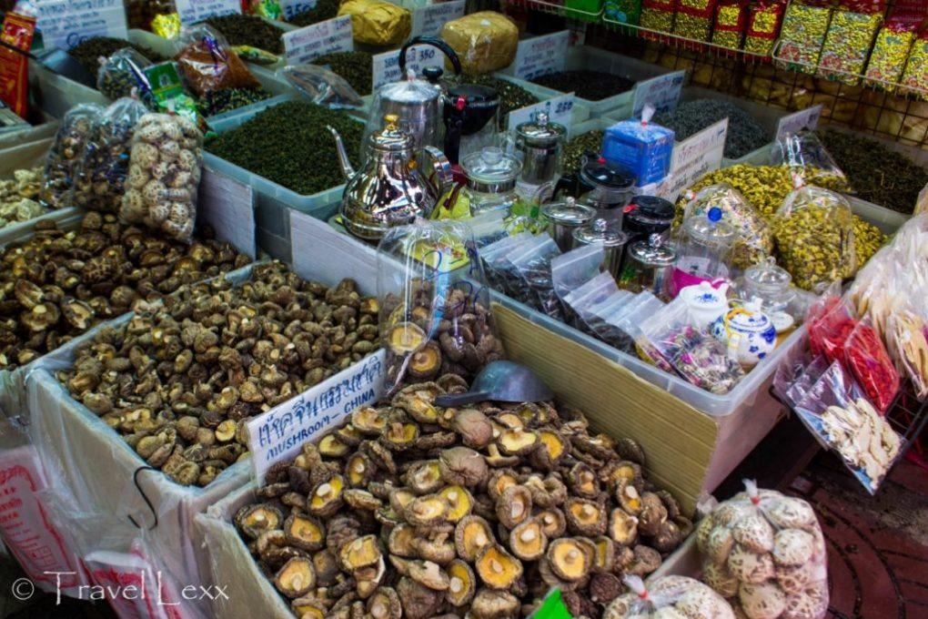 Mushrooms and herbs at Talat Mai market in Chinatown