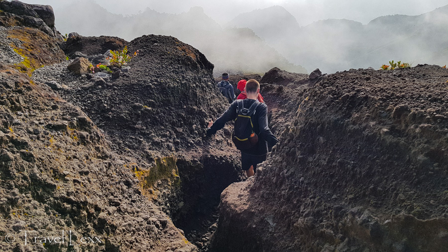 Hikers heading down from the summit of Mt Merapi