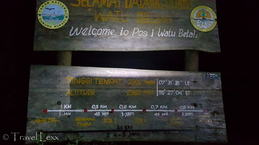 A sign stating the altitude and coordinates on the slope of Mt Merapi