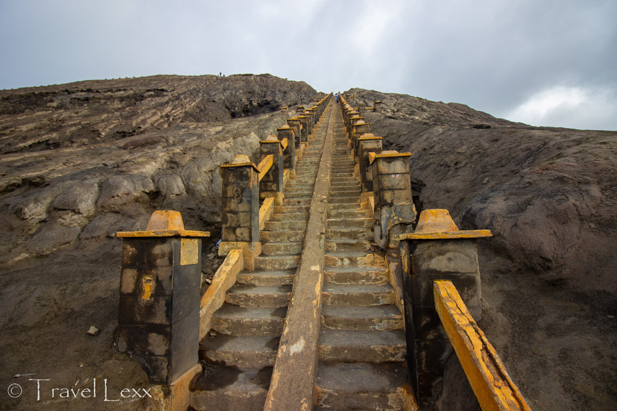 The stairway to the crater rim of Mount Bromo