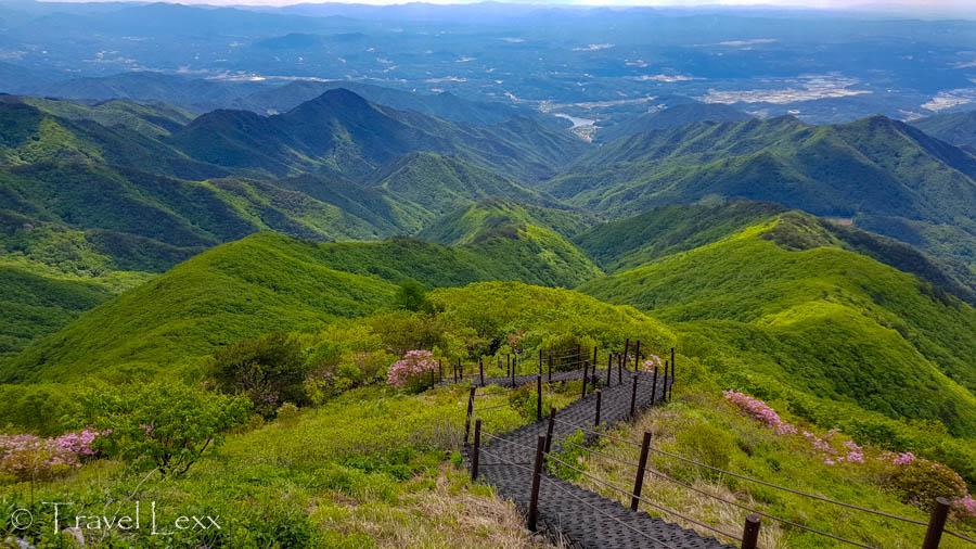 A boardwalk snaking through green hills - Hiking in Sobaeksan National Park