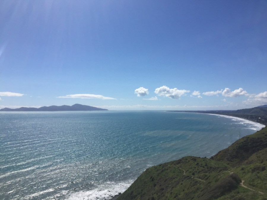 A view of the sea and green-covered slopes along the Paekakariki Escarpment Track hiking trail