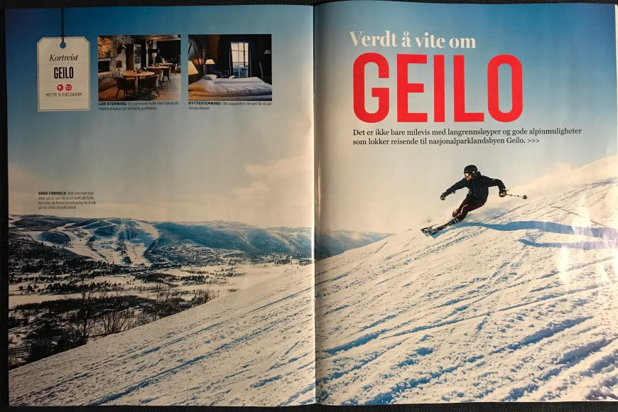 Travel article from Geilo ski resort in Norway. 4 pages in the magazine VG Reise