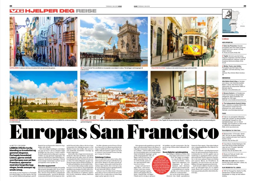 Lisbon in newspaper VG