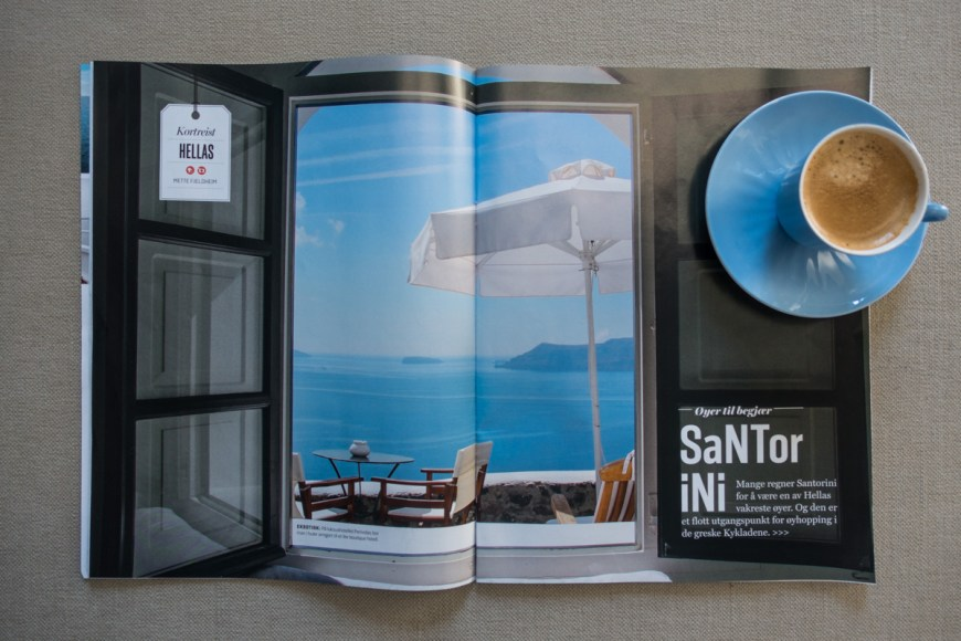 Travel article about Santorini in the magazine VG Reise. 8 pages.