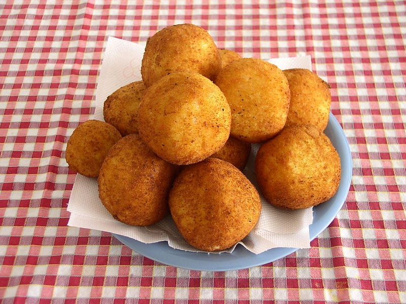 Typical arancini as eaten in Italy