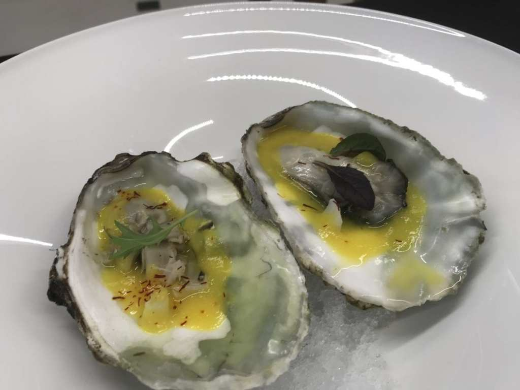 Blanched Oysters with White Asparagus Puree