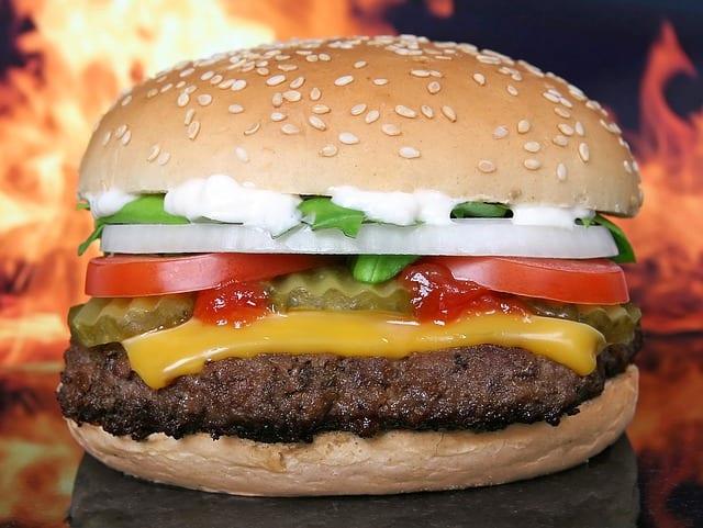 American flame grilled hamburger