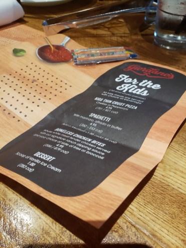 Giordanos Arizona - kids menu - travel foodie mom