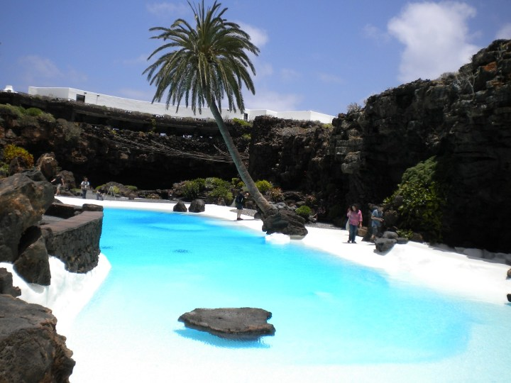 Los Jameos del Agua Pool, one of the main attractions in Lanzarote, designed by the island's famous artist - Cesar Manrique.