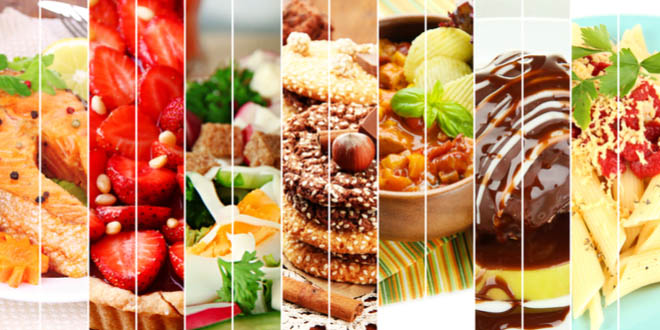 Collage of delicious savory and sweet foods to celebrate the National Foodies Day.