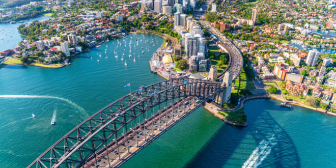 Helicopter view of Sydney Harbor Bridge and Lavender Bay from a guide to Sydney