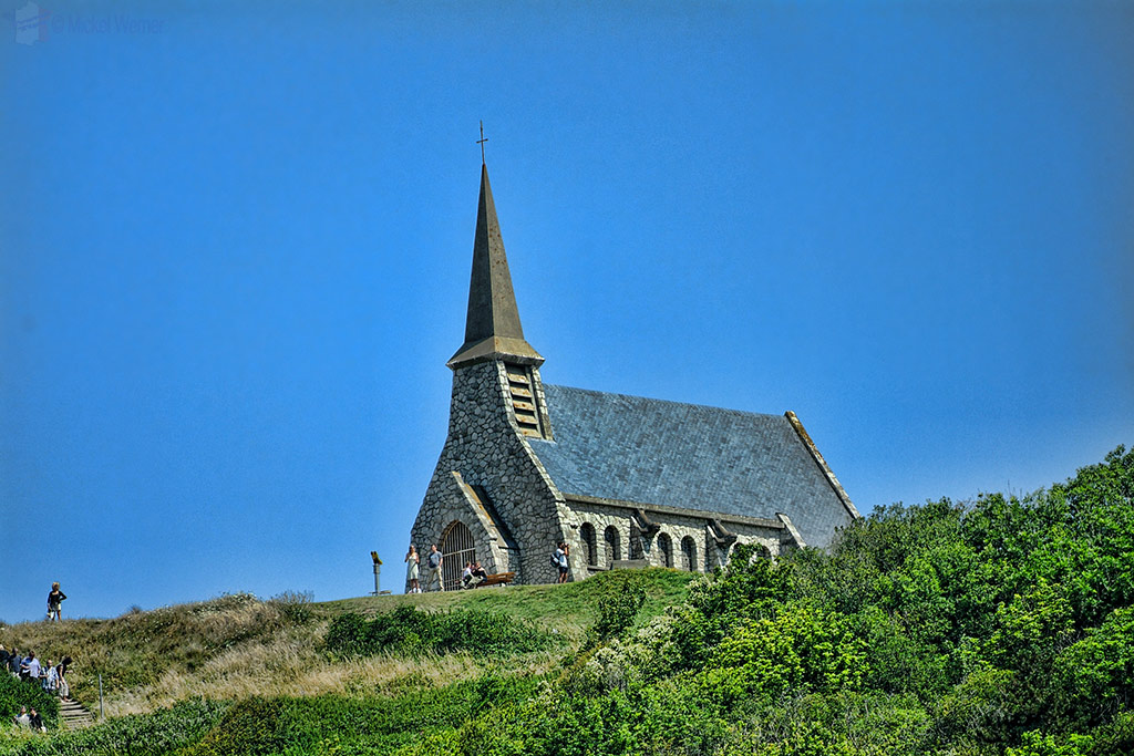 Notre-Dame de la Garde chapel on the top of the Etretat cliffs