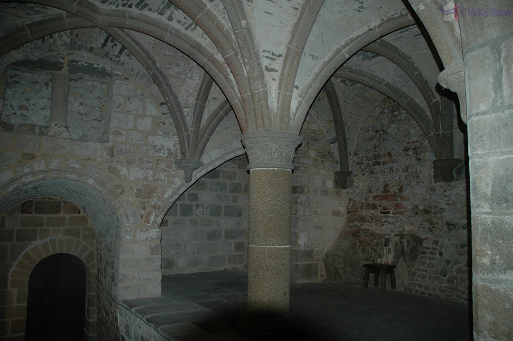 Vaulted ceilings of the monastery of Mont St. Michel