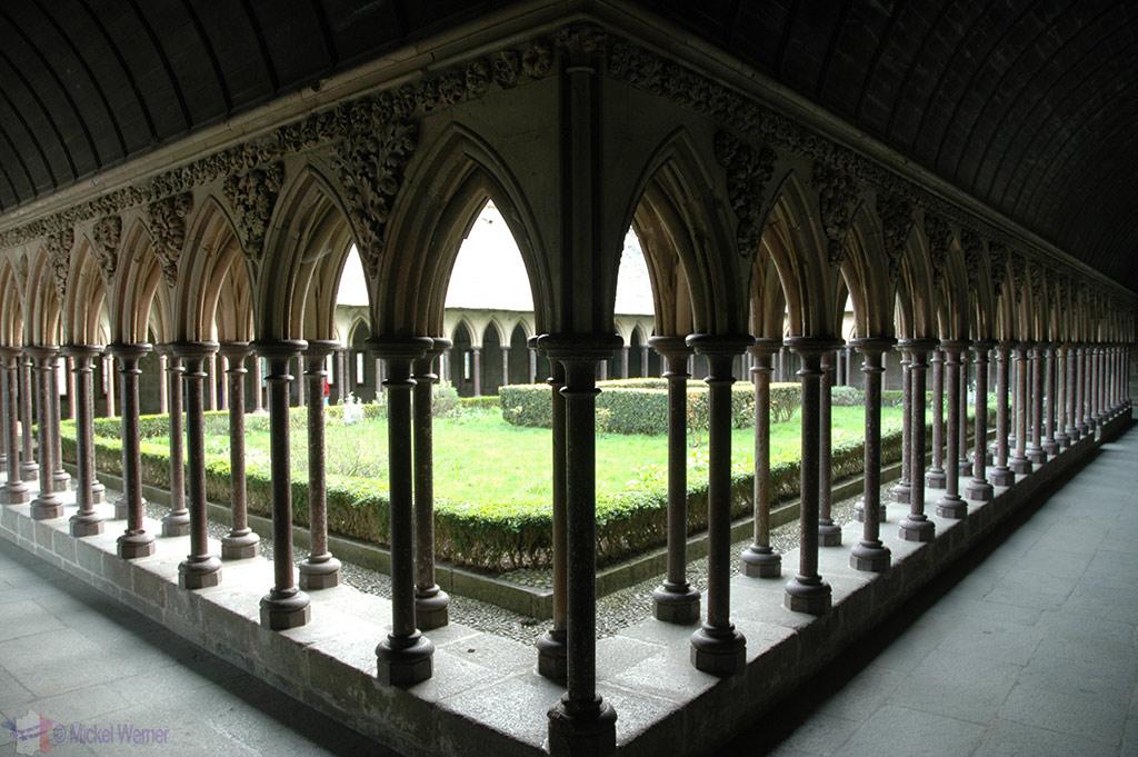 Inner courtyard above in Mont St. Michel