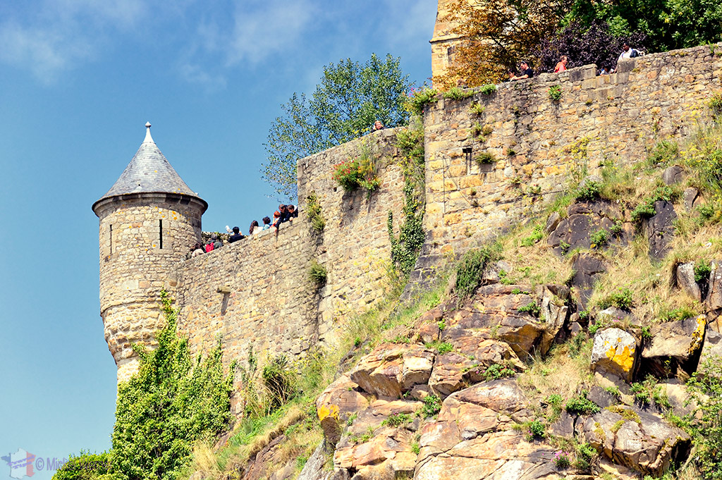 The fortified walls from Mont St. Michel seen from below