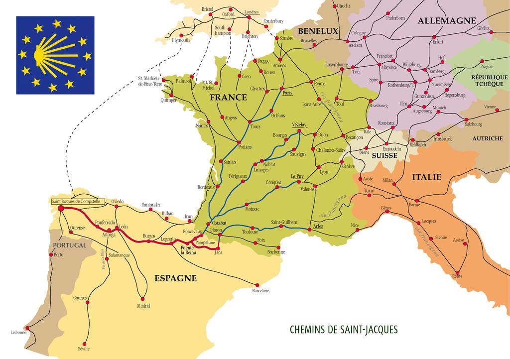 Santiago de Compostela pilgrimage routes