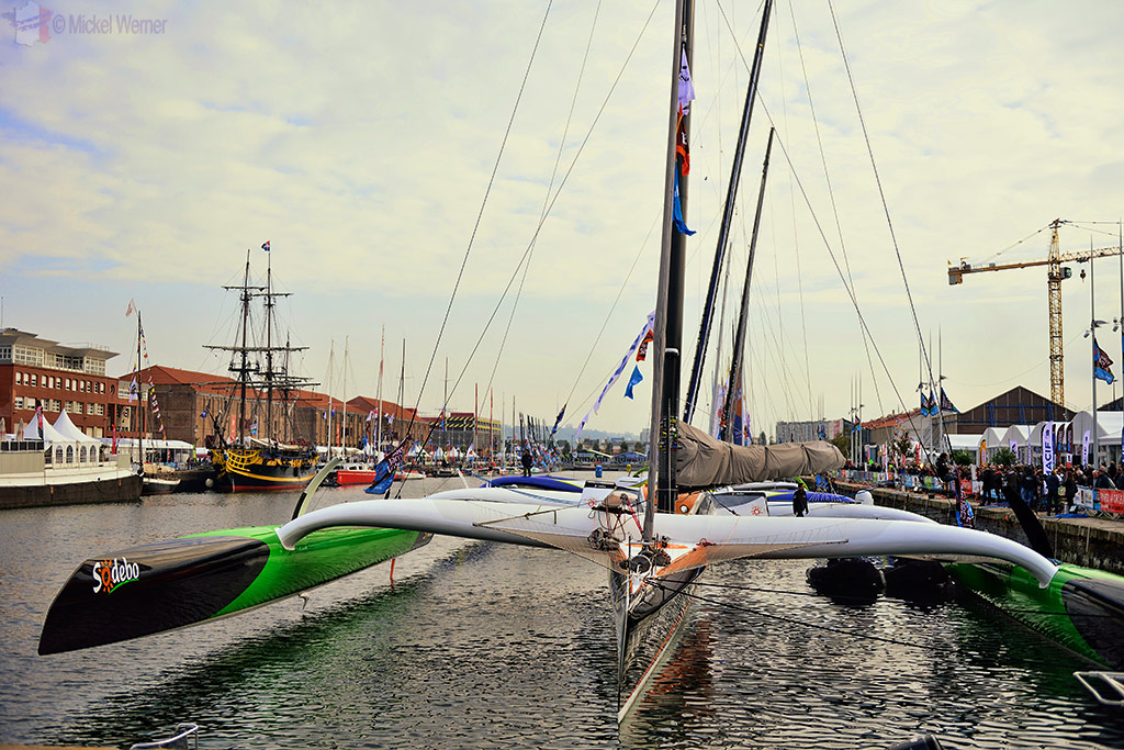 Bigger racing yachts of the Transat Jacques Vabre at the Le Havre docks