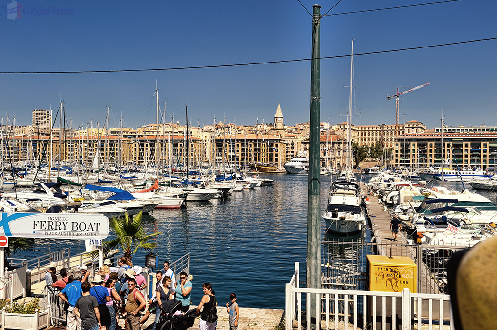 The old harbour of Marseille and its ferry