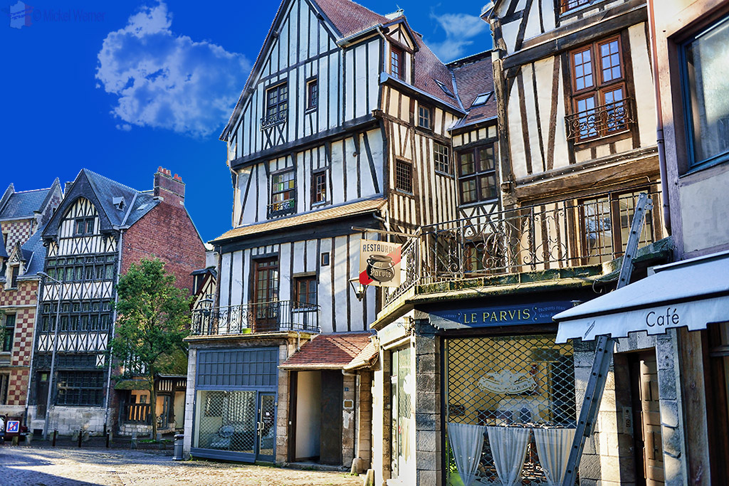 Old houses and shops in Rouen city centre